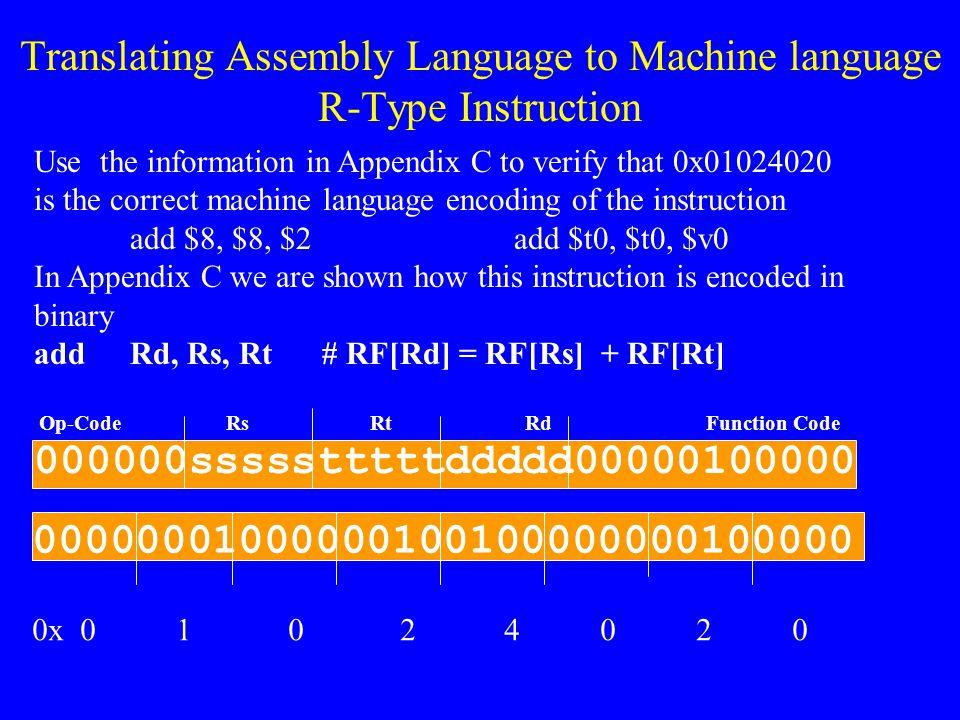 Translating Assembly Language to Machine language R-Type Instruction