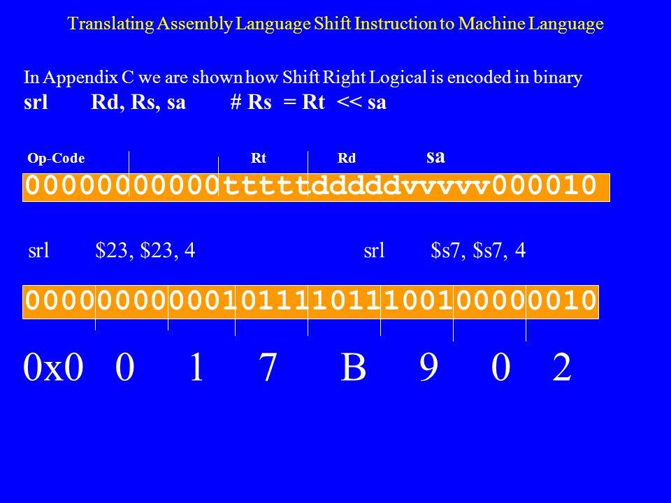 Translating Assembly Language Shift Instruction to Machine Language