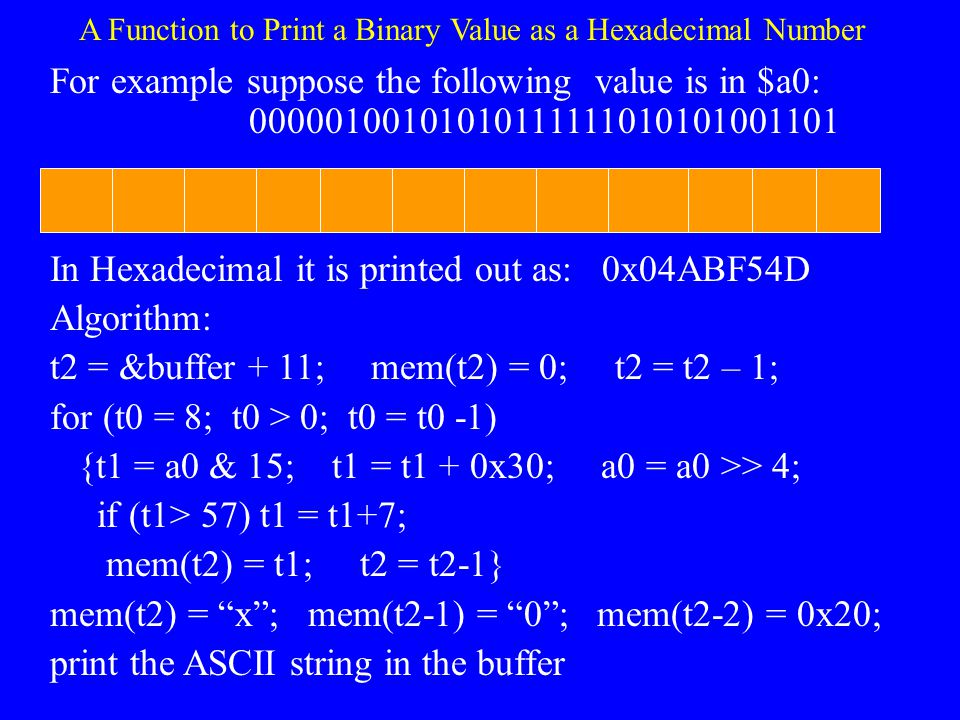 A Function to Print a Binary Value as a Hexadecimal Number