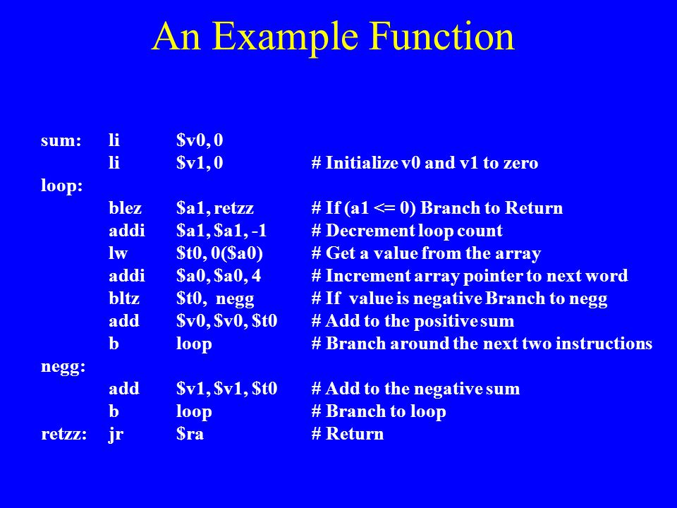 An Example Function sum: li $v0, 0