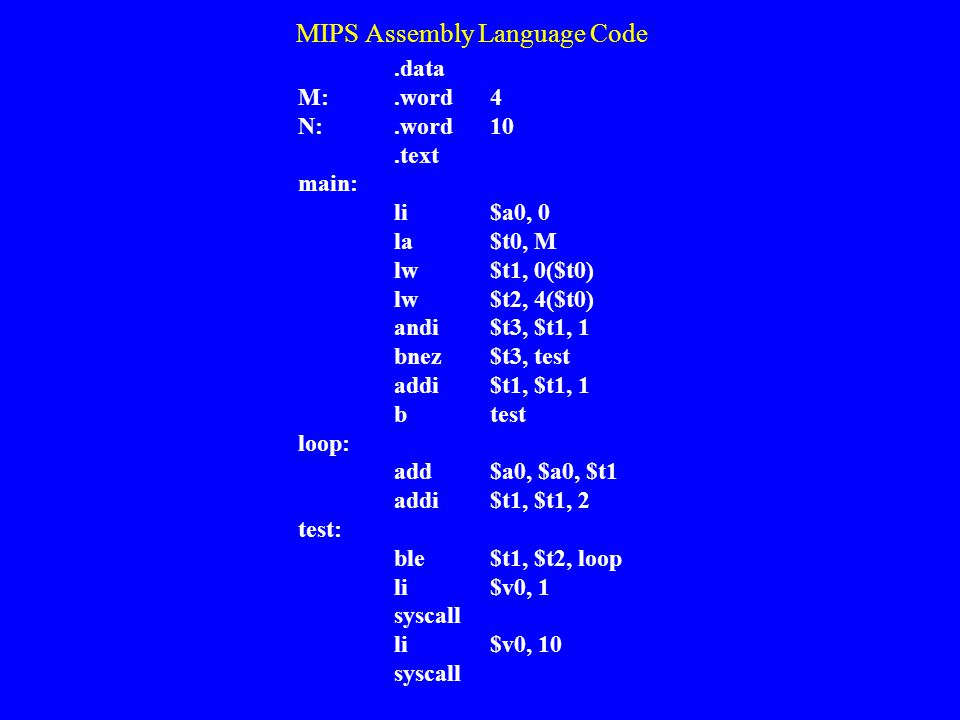 MIPS Assembly Language Code