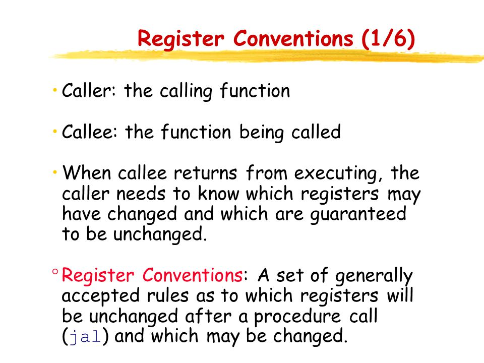 Register Conventions (1/6)