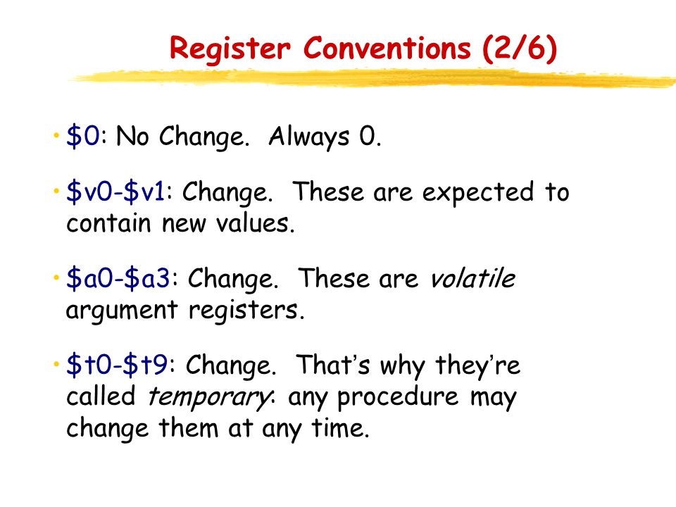Register Conventions (2/6)