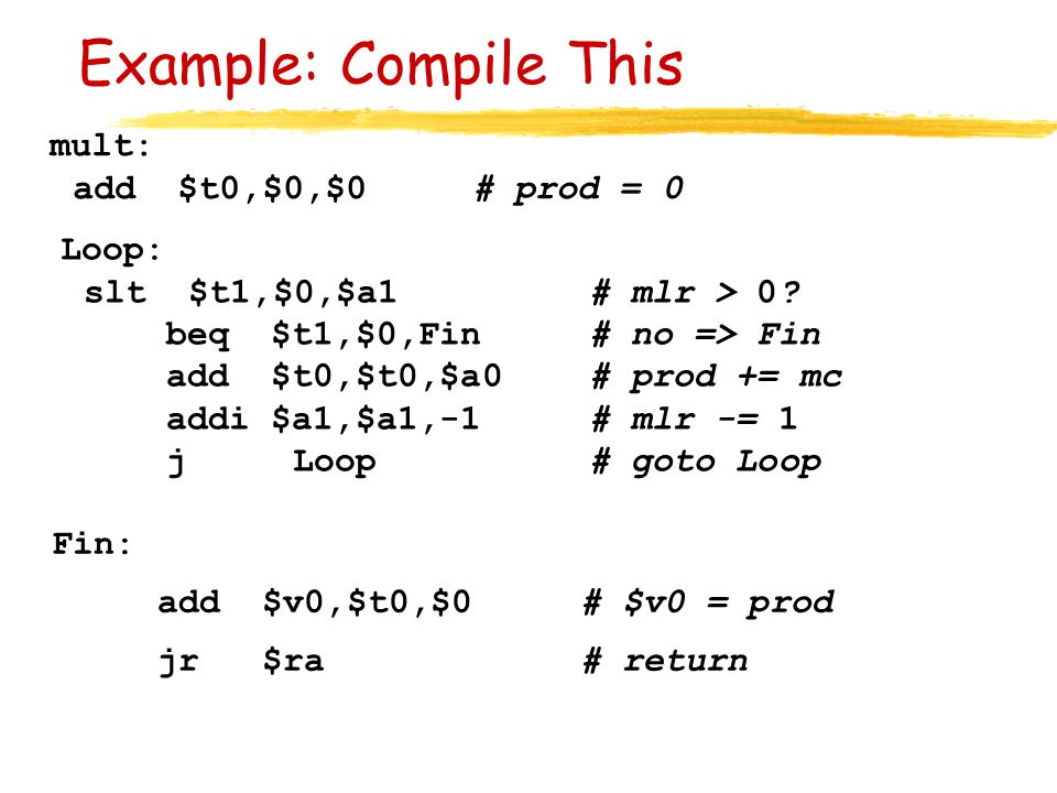 Example: Compile This mult: add $t0,$0,$0 # prod = 0