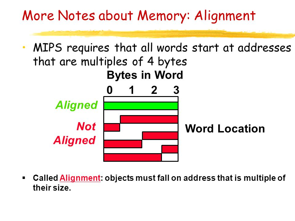 More Notes about Memory: Alignment