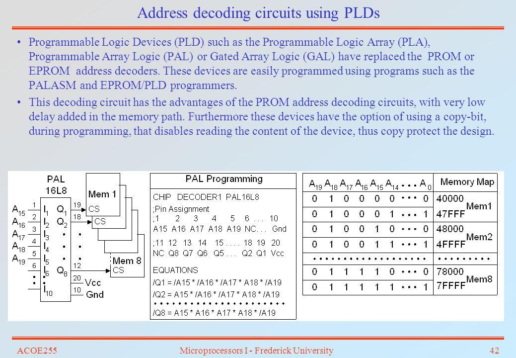 Address decoding circuits using PLDs