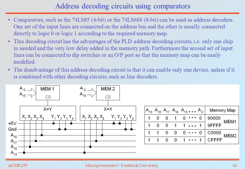 Address decoding circuits using comparators