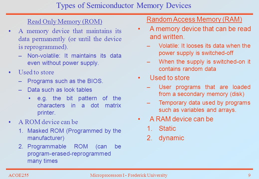 Memory Devices and Interfacing – (Chapter 9) - ppt download