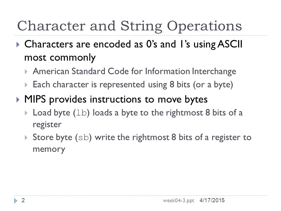 Character and String Operations