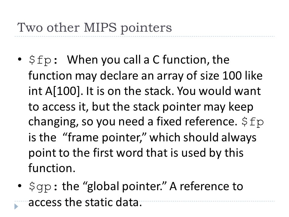 Two other MIPS pointers