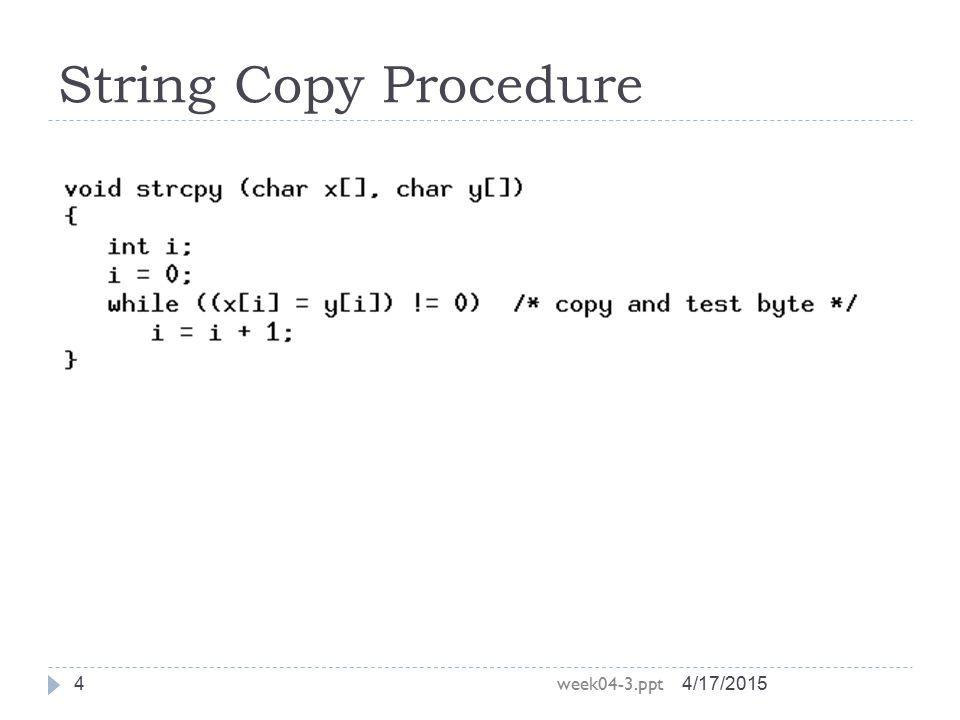 String Copy Procedure week04-3.ppt 4/11/2017 4/11/2017
