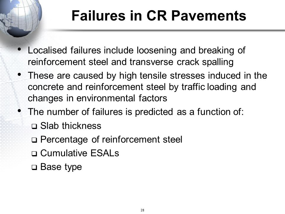 Failures in CR Pavements
