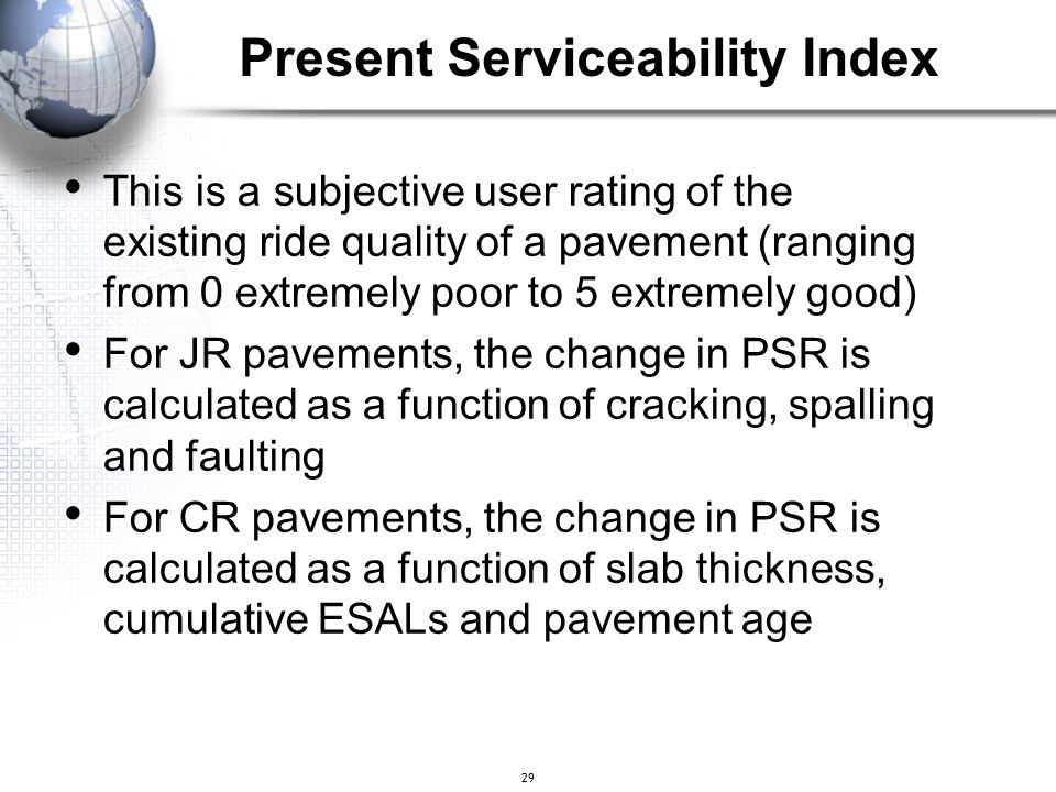 Present Serviceability Index