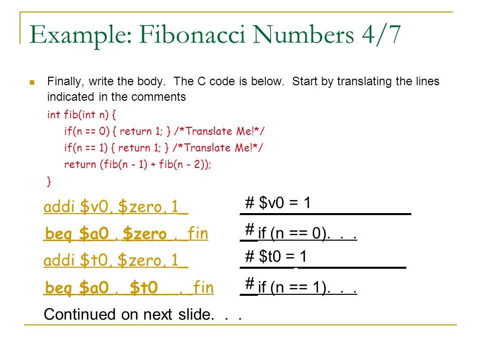 Example: Fibonacci Numbers 4/7
