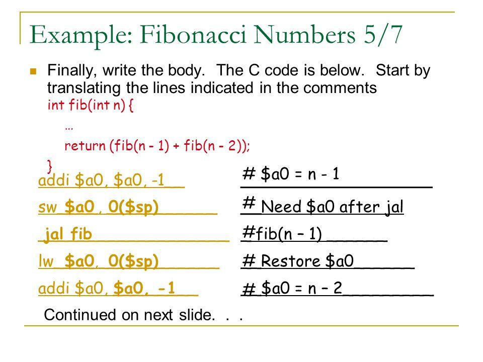 Example: Fibonacci Numbers 5/7