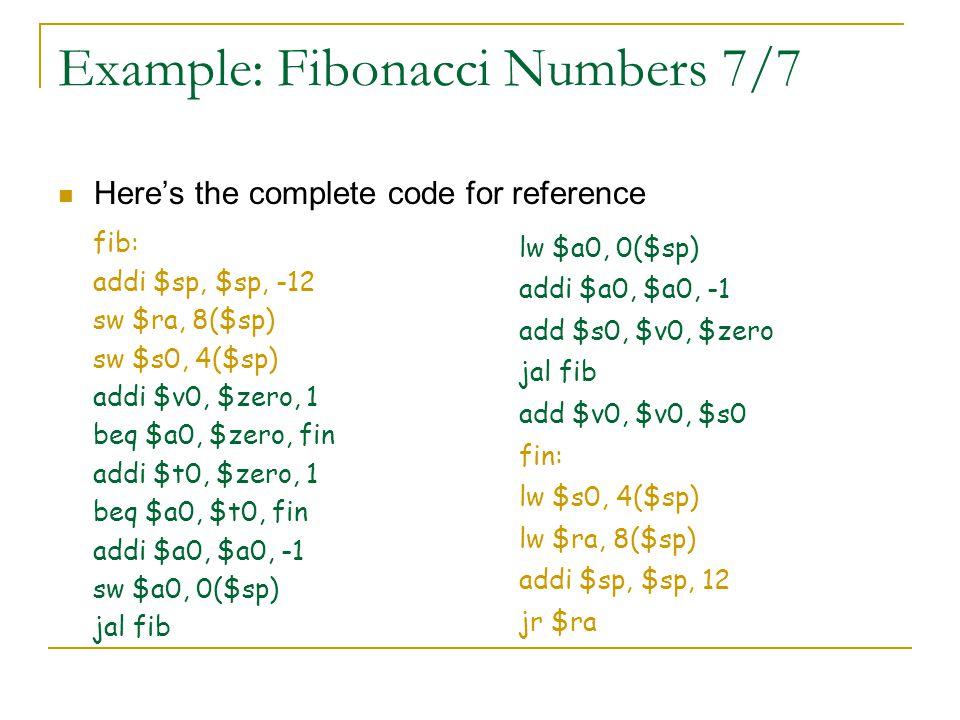 Example: Fibonacci Numbers 7/7