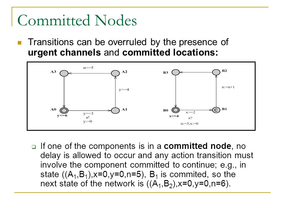 Committed Nodes Transitions can be overruled by the presence of urgent channels and committed locations: