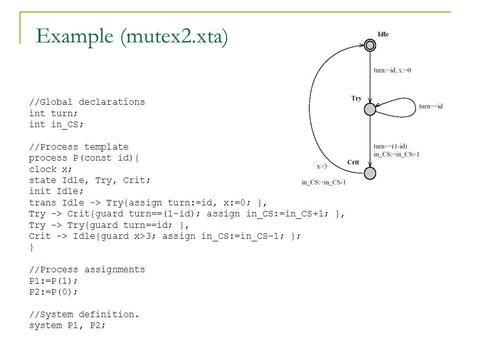 Example (mutex2.xta) //Global declarations int turn; int in_CS;