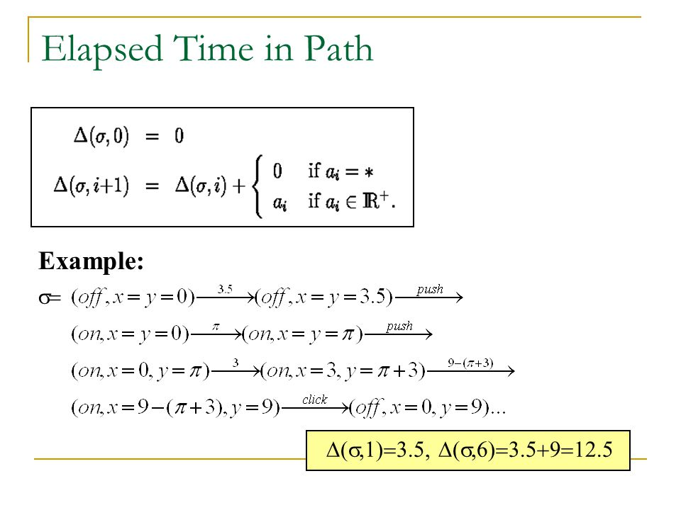 Elapsed Time in Path Example: s= D(s,1)=3.5, D(s,6)=3.5+9=12.5