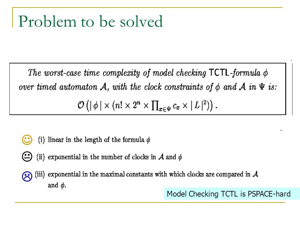 Problem to be solved    Model Checking TCTL is PSPACE-hard