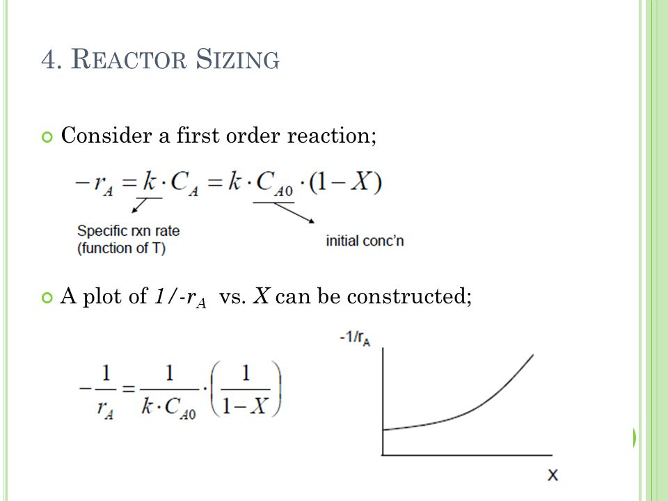 4. Reactor Sizing Consider a first order reaction;
