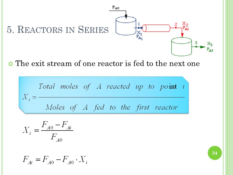 5. Reactors in Series The exit stream of one reactor is fed to the next one