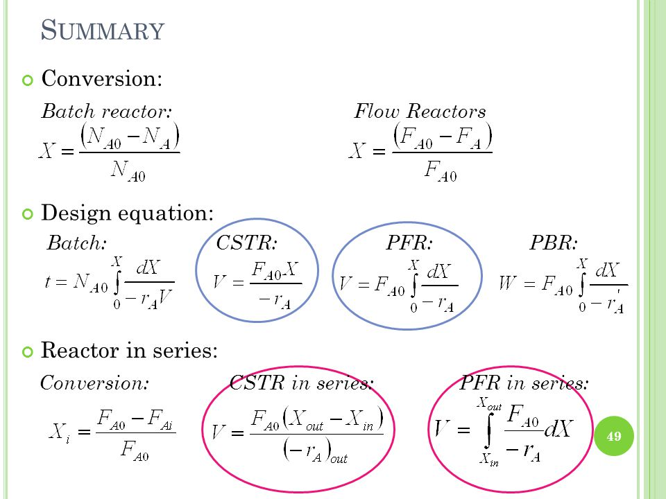 Summary Conversion: Batch reactor: Flow Reactors Design equation: