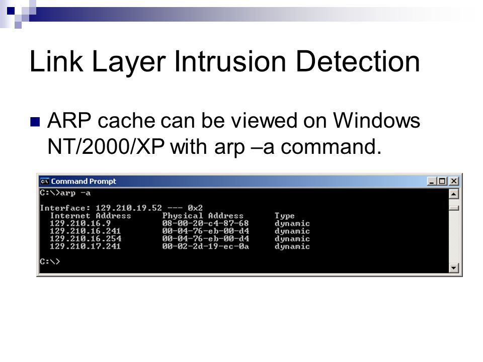 Link Layer Intrusion Detection