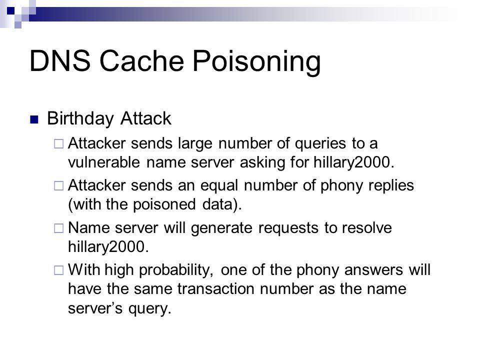 DNS Cache Poisoning Birthday Attack