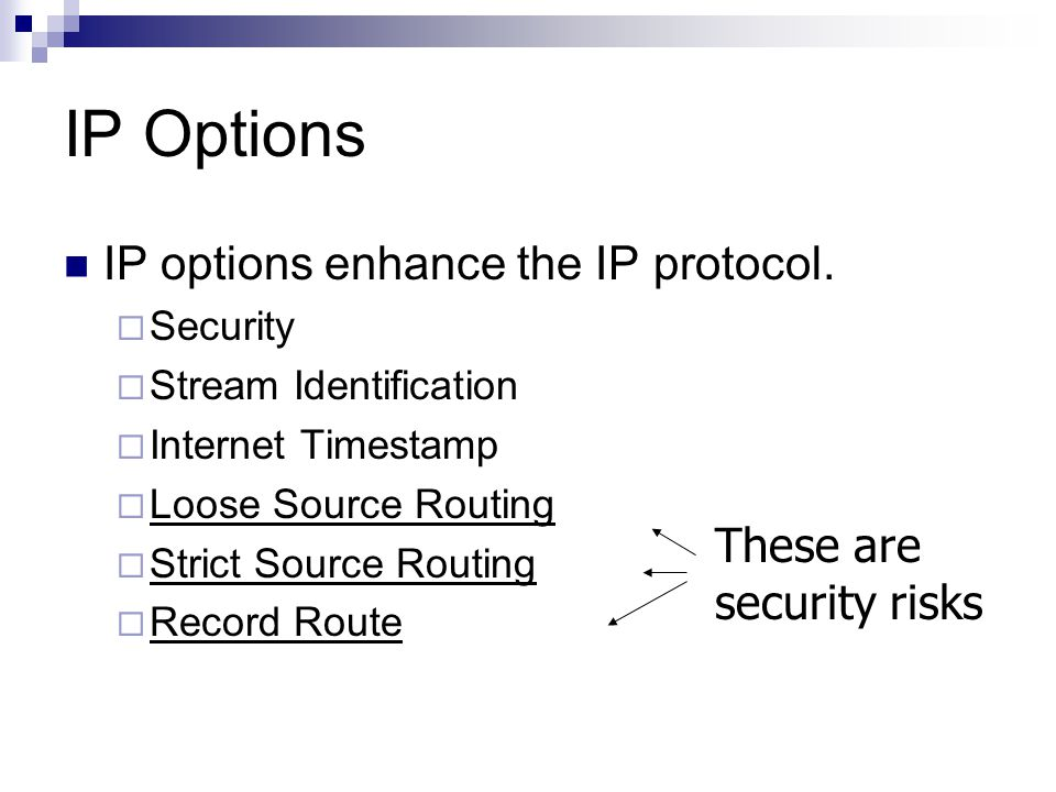 IP Options IP options enhance the IP protocol.