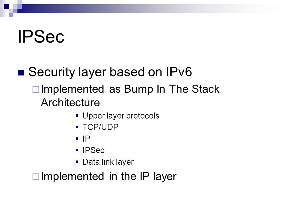 IPSec Security layer based on IPv6