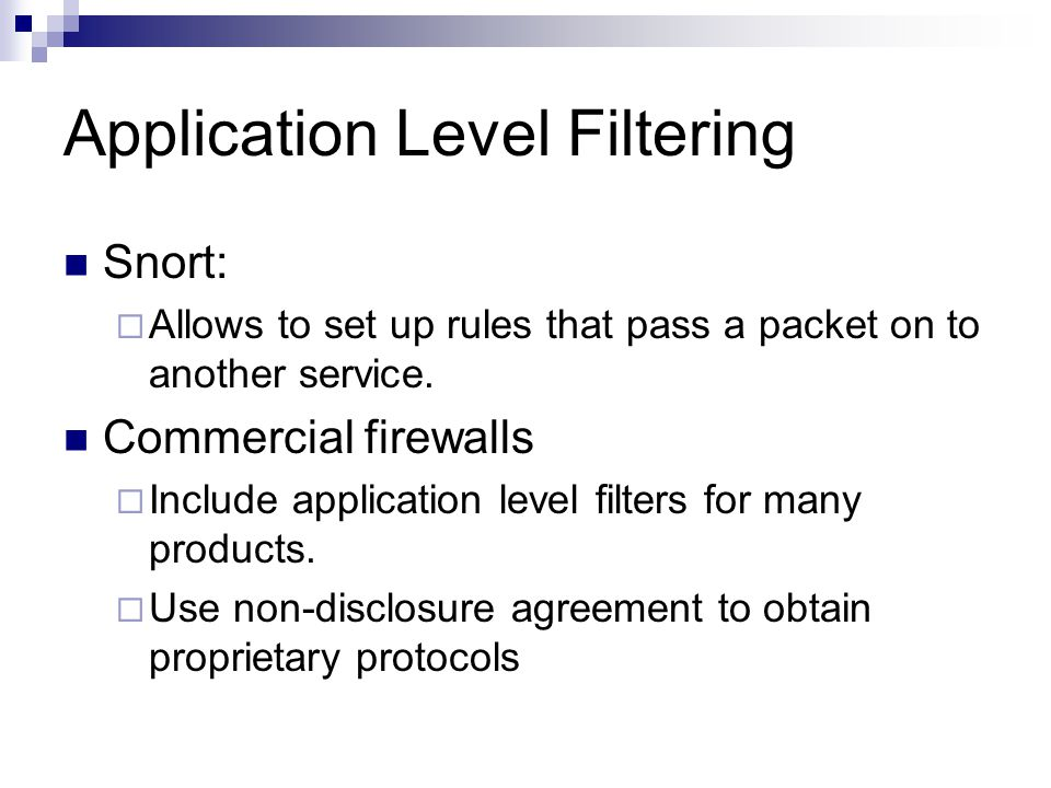 Application Level Filtering