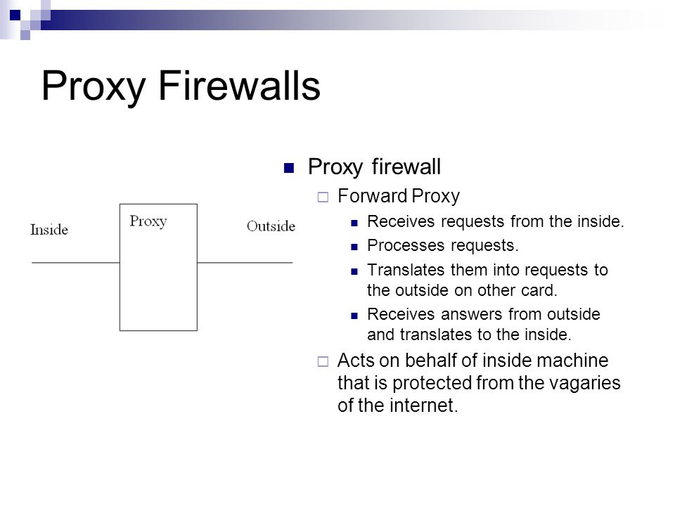 Proxy Firewalls Proxy firewall Forward Proxy