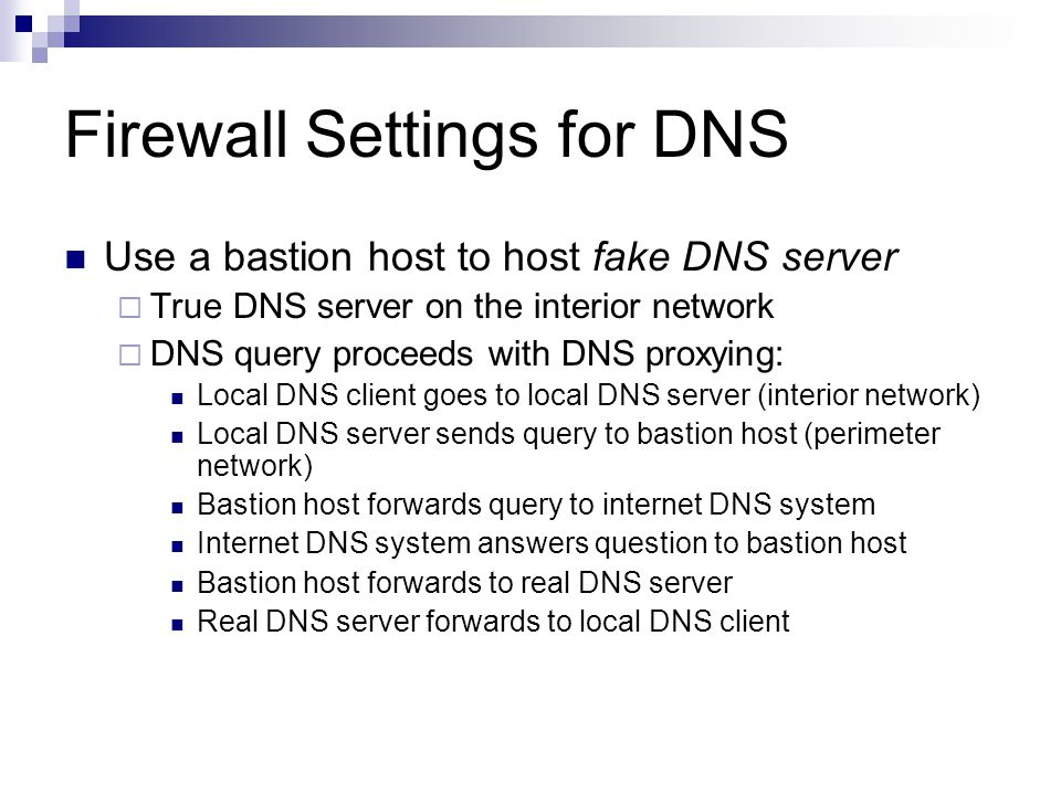 Firewall Settings for DNS