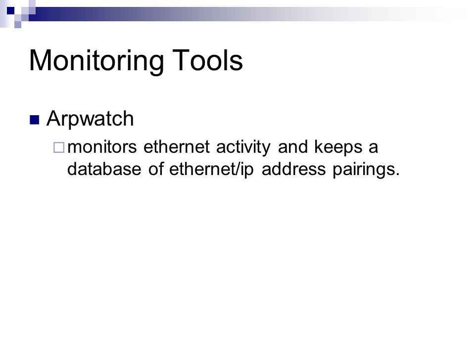 Monitoring Tools Arpwatch