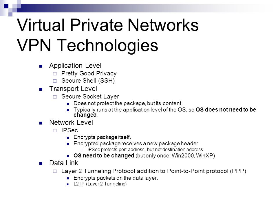 Virtual Private Networks VPN Technologies