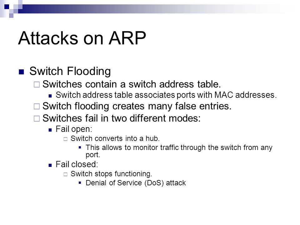 Attacks on ARP Switch Flooding
