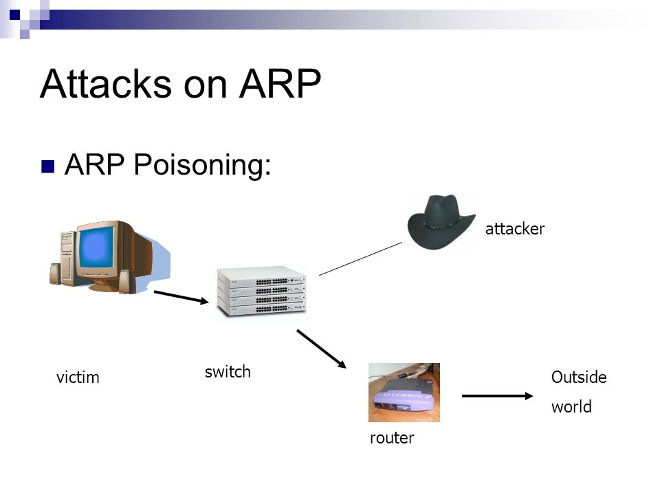 Attacks on ARP ARP Poisoning: attacker switch victim Outside world