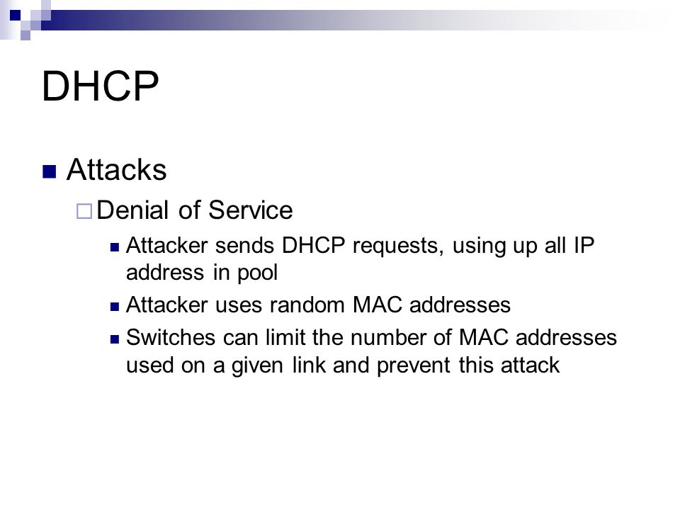 DHCP Attacks Denial of Service