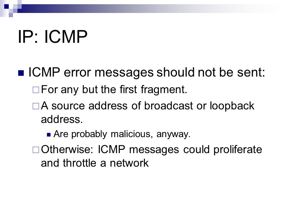 IP: ICMP ICMP error messages should not be sent: