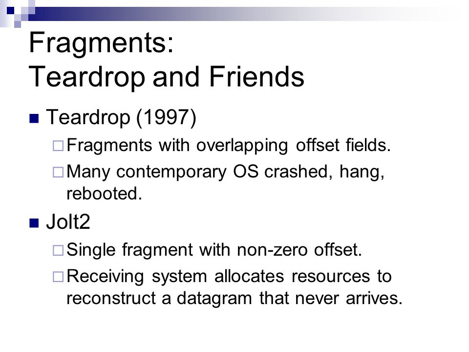 Fragments: Teardrop and Friends