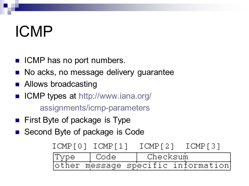 ICMP ICMP has no port numbers. No acks, no message delivery guarantee