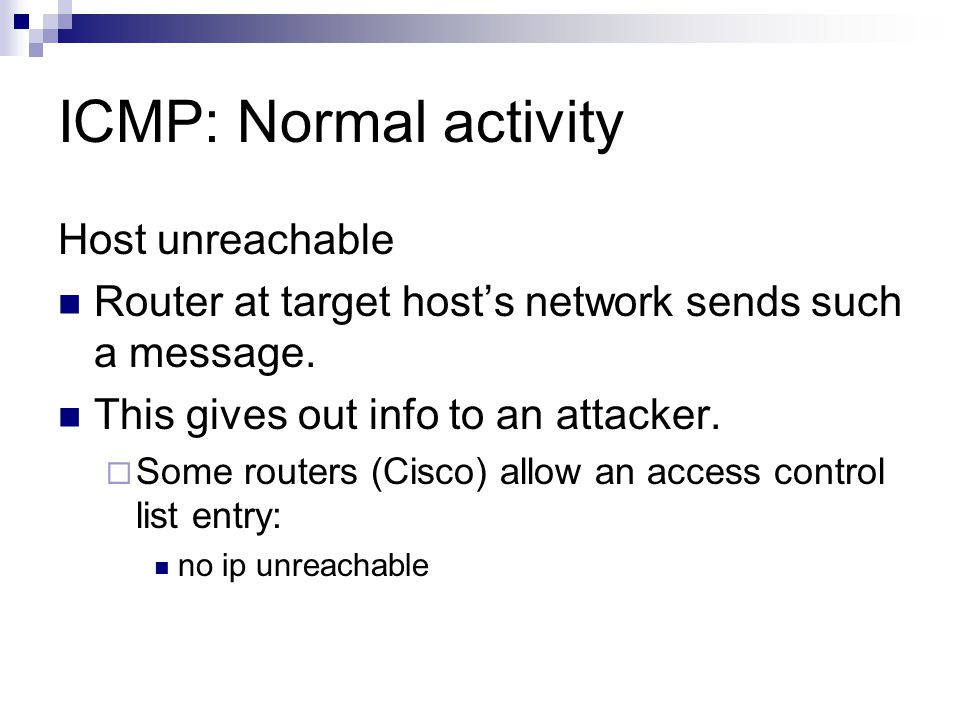 ICMP: Normal activity Host unreachable