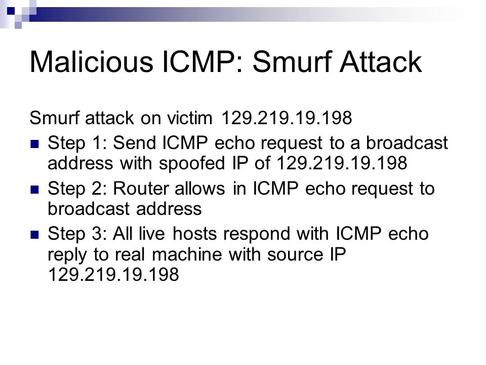 Malicious ICMP: Smurf Attack