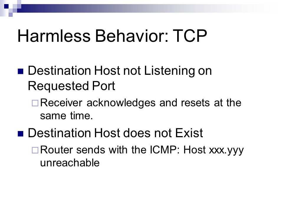Harmless Behavior: TCP