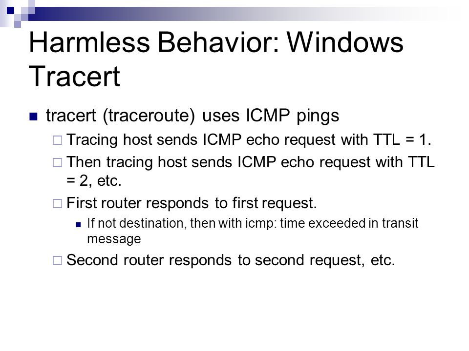 Harmless Behavior: Windows Tracert
