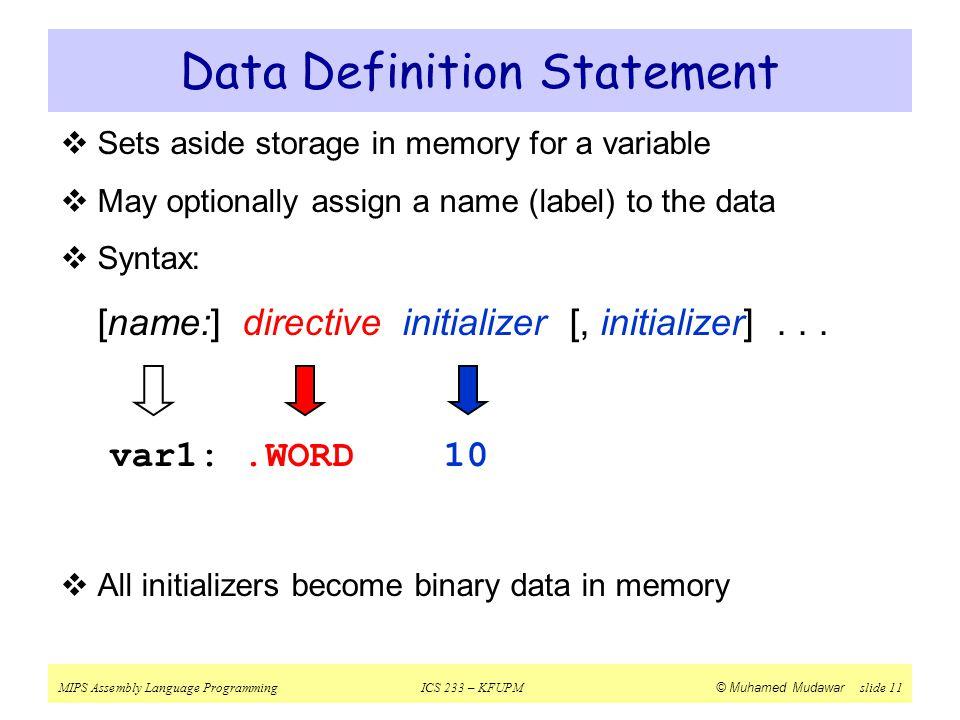 Data Definition Statement