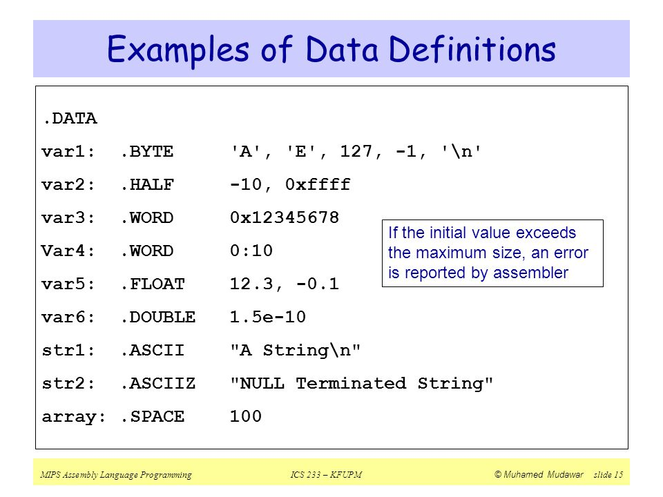 Examples of Data Definitions