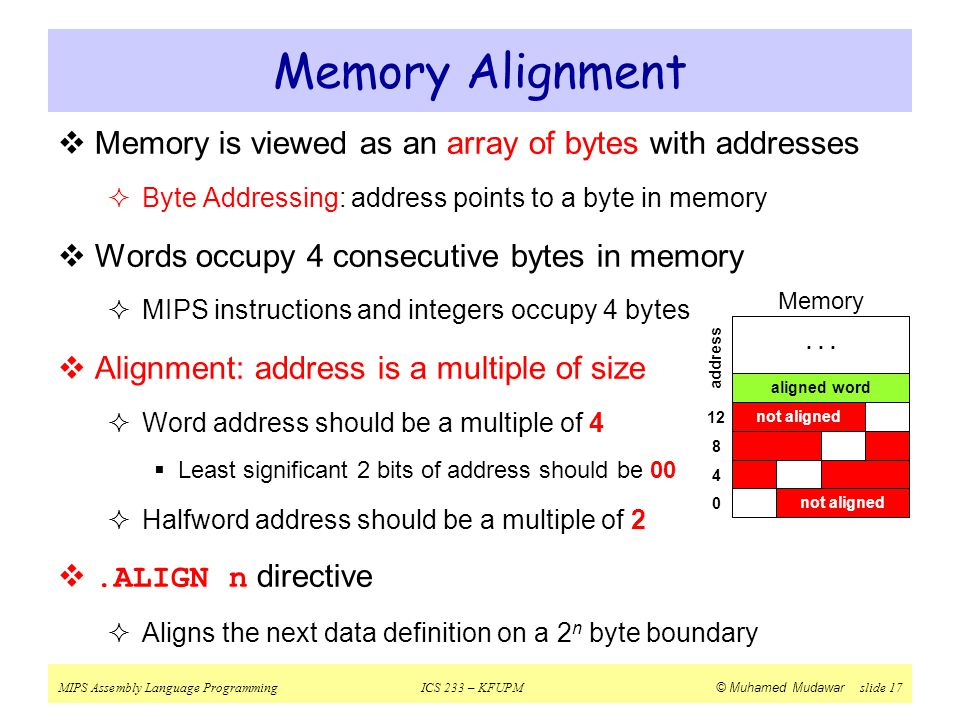 Memory Alignment Memory is viewed as an array of bytes with addresses