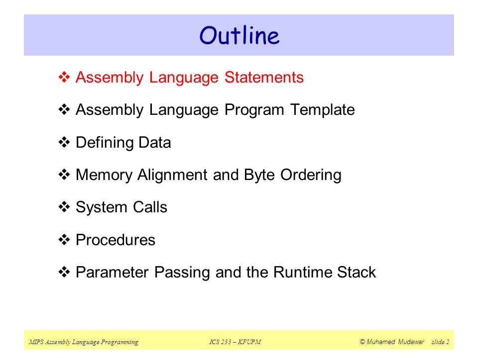 Outline Assembly Language Statements
